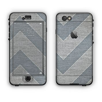 The Vintage Gray Textured Chevron Pattern Wide V3 Apple iPhone 6 Plus LifeProof Nuud Case Skin Set