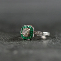 Art Deco Emerald And Diamond Engagement Ring by Ruby Gray's | Ruby Gray's