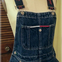 Vtg Grunge 1990s Tommy Hilfiger Carpenter Denim Bib Overalls, Women's Size Medium