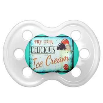 Vintage ice cream sign baby pacifier