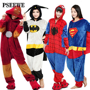 PSEEWE 2016 New Adults Flannel Pajamas All in One Pyjama Super hero Adult Winter Iron Superman Spiderman Batman Onesuits Pajamas