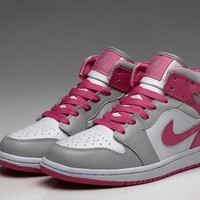 Nike Air Jordan Mid White & Pink Dynamic Women Training Sports Basketball Shoes