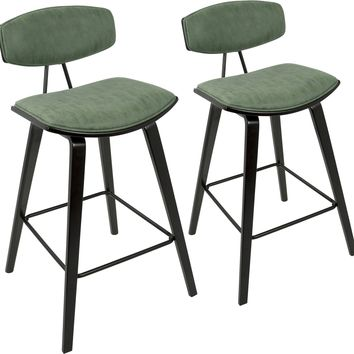 "Damato 26"" Mid-Century Counter Stools with Green Fabric, Espresso (Set of 2)"