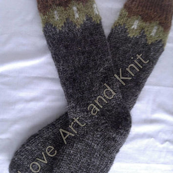 Ready to ship, Icelandic woolen socks, wool socks, outdoors, knee socks, warm socks, lopi, Icelandic wool, unisex adult socks, high socks