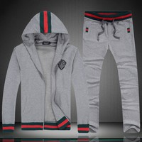 GUCCI 2018 autumn and winter new hooded cardigan jacket casual sportswear two-piece Grey