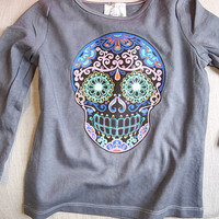 Trendy Sugar Skull Toddler Shirt Long Sleeve Tshirt T. Purple Skull Fall Clothing  Boys girls baby hipster top. Mexican Folk day of the dead