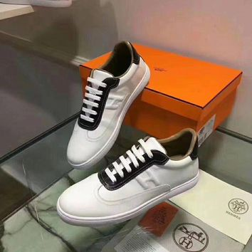 Hermes Women Trending Fashion Embroidery printing Casual Sneakers Sports Shoes White Black