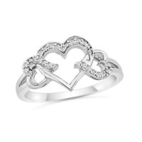 Sterling Silver Round Diamond Triple Heart Ring (1/10 cttw)