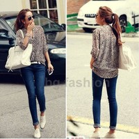 S M L XL New Women 3/4 Sleeve Casual Leopard Print Shirt Tops Button Down Blouse