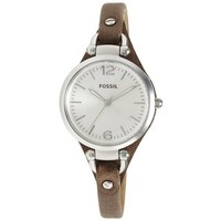 Fossil Women's ES3077 'Georgia' Rose-goldtone Leather Strap Watch - Free Shipping Today - Overstock.com - 15268589 - Mobile