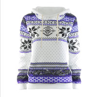 Loose printed long - sleeved thick hooded sweater Purple