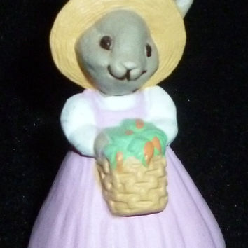 Hallmark Merry Miniature Girl Easter Bunny With Basket Of Carrots Figurine
