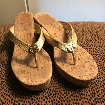 Tory Burch Gold Suzy Cork Wedge Sandals