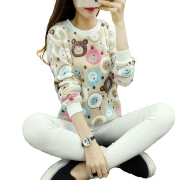 Cute Teddy Bear Harajuku Christmas Women Sweaters 2017 Fashion Winter Wool Pullover Cashmere Knitted Sweater Warm Flannel