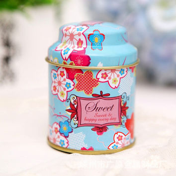 Candy Sealed Cans Box Tinplate Tea Tin Sugar Storage Bins Jar Container Gift Metal Home Decoration Accessories 1Pcs