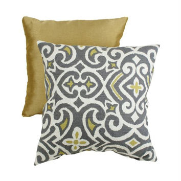 Yellow And Gray Throw Pillow - One Side Design
