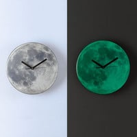 Glow in the Dark Moon Clock Glows at night Room Wall Clock Decor for any Room