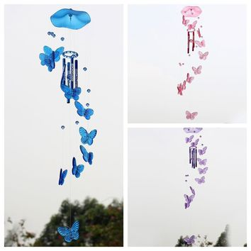 Creative Crystal Butterfly Wind Chime Bell Ornament Lucky Living Hanging Decor