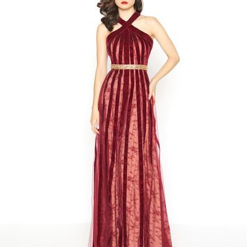 Mac Duggal - 40876R Halter Velvet A-Line Evening Gown