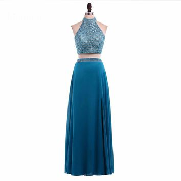 Two Pieces dresses Beading Bodice A line Chiffon