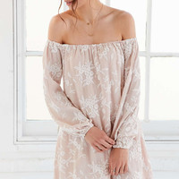 Ecote Embroidered Off-The-Shoulder Mini Swing Dress - Urban Outfitters