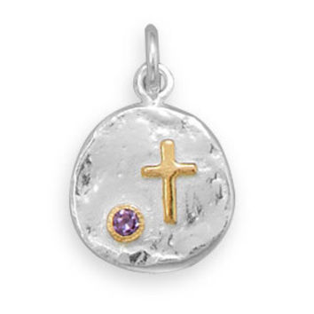 Cross and Purple CZ Two Tone Necklace