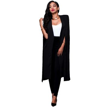 Yuerlian Cape Cloack Sleeve Blazer Women Black White Party Slit Long Coats 2017 Autumn New Lady Long Sleeve Open Stitch Cardigan