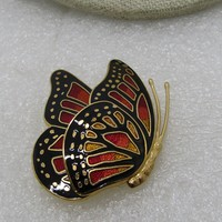 """Vintage Cloisonne Butterfly Brooch, Folded Wings, Signed, 1980's, 1.75"""", Gold Tone"""