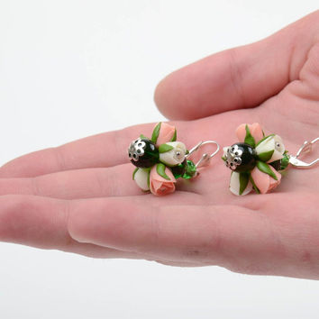 Handmade tender dangling earrings with cold porcelain white and pink rose flowers