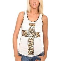 Pilot Gold Leopard Print Cross Vest Top