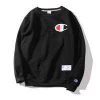 Champion Autumn and winter embroidery small lovers sweater plus velvet thickening Black