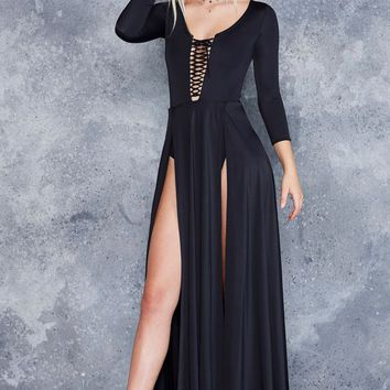 VAMP SPLIT MAXI DRESS - LIMITED
