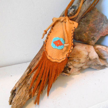 Medicine Bag, Small Leather Pouch, Hand Beaded Eye of Wisdom, Handmade Fringe Pouch, Hippie, Boho, Gypsy, Powwow, Mountain Man