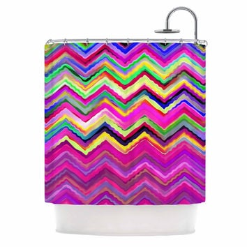 "Dawid Roc ""Colorful Chevron"" Purple Pink Shower Curtain"