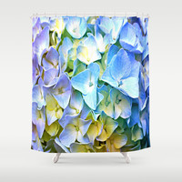 Soft Pastel Tri-Color Hydrangea Shower Curtain by Judy Palkimas