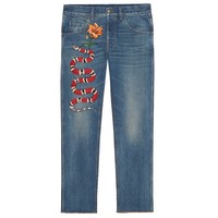 Indie Designs Gucci Inspired Flower and Snake Embroidered Stonewashed Denim Jeans