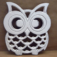 Owl Trivet Hot Plate White White Shabby Chic Distressed Kitchen Rustic Woodsy Decor Ornate Cast Iron