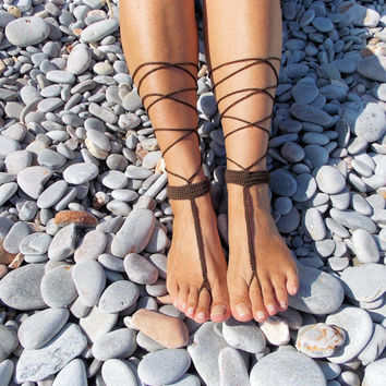 Brown Crochet Barefoot Sandals in T bar Design,Wedding Favors,Foot Jewelry,Toe Ring,Nude Shoes.
