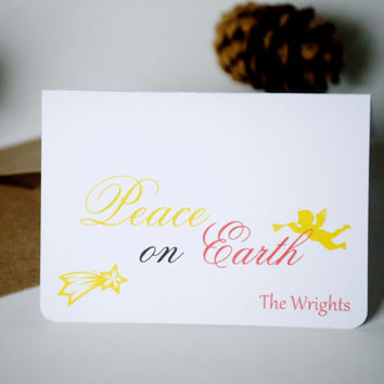 Small holiday cards, personalized Christmas cards, greeting cards, peace on Earth  - set of 5