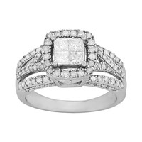 Princess-Cut Diamond Frame Engagement Ring in 10k White Gold (1-ct. T.W.)