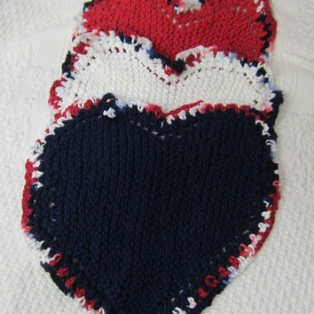 Knit Heart Shaped Dishcloth/Washcloth/Dish Rag/Wash Rag Set of three Made with 100% Cotton Yarn in Red,White and Blue Ready to ship