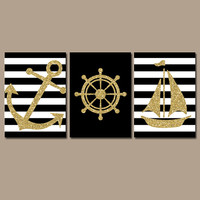 GLITTER Nautical Wall Art Nursery Bathroom Wall Art Black Gold Glitter Wall Art Dorm Room Artwork Ocean Anchor Boat Wheel Set of 3