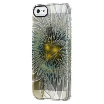 Golden Flower Fantasy, abstract Fractal Art Clear iPhone SE/5/5s Case