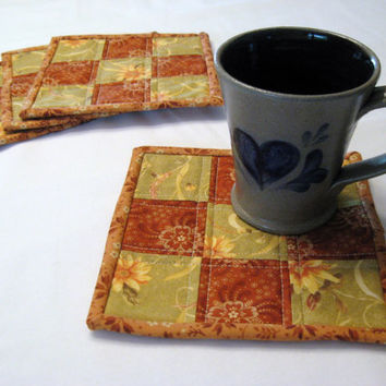 Quilted Mug Rugs, set of 4, in assorted Fall colored fabrics