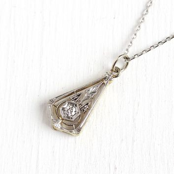 Art Deco Necklace - Antique 14k Yellow Gold & Platinum Old European .04 CT Diamond - 1920s Era Filigree Stick Pin Conversion Pendant Jewelry