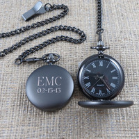 Personalized Pocket Watch - Engraved- Monogrammed - Gifts for Men - Groomsmen Gifts - (775)