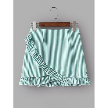 Vertical-Striped Ruffle Trim Overlap Skirt