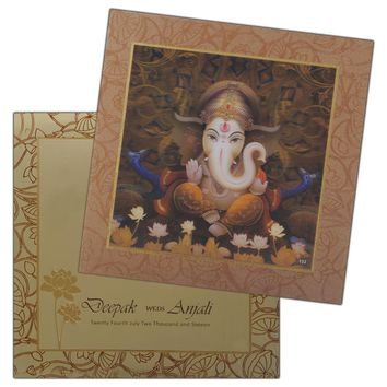 Divinely Ganesha 3D Wedding Cards-KPC2595