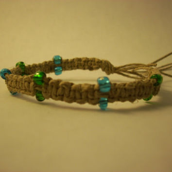 Hemp Bracelet Blue and Green Beads by PreciousBowtique on Etsy