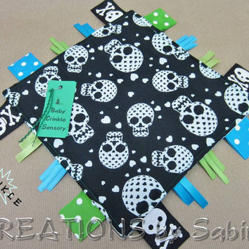 Baby Crinkle Sensory Blanket Toy, Tag Toy, Ribbon Sensory, Boy, Black, White, Blue, Turquoise, Green, Sugar Skulls, Pirate READY TO SHIP 156